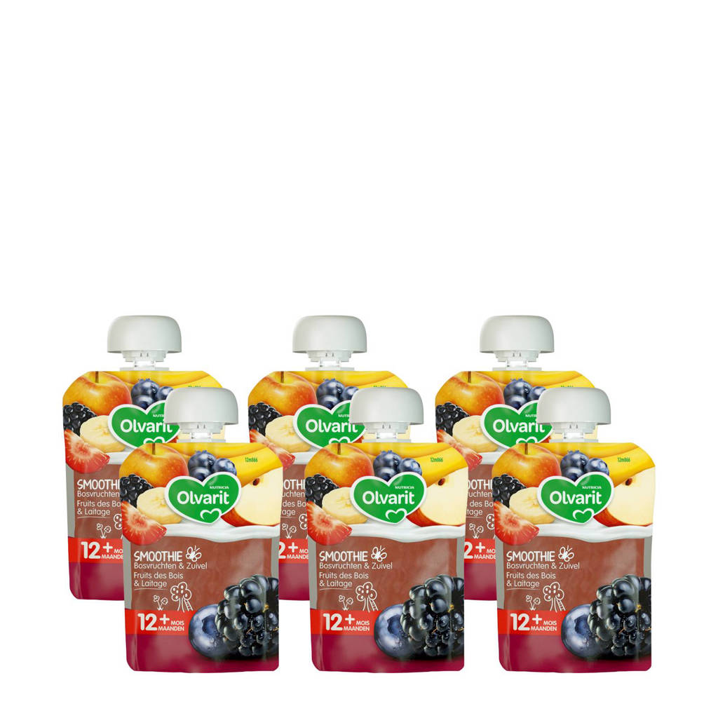 Olvarit knijpzakjes fruit bosvruchten fruit yoghurt 12+ mnd (6-pack)