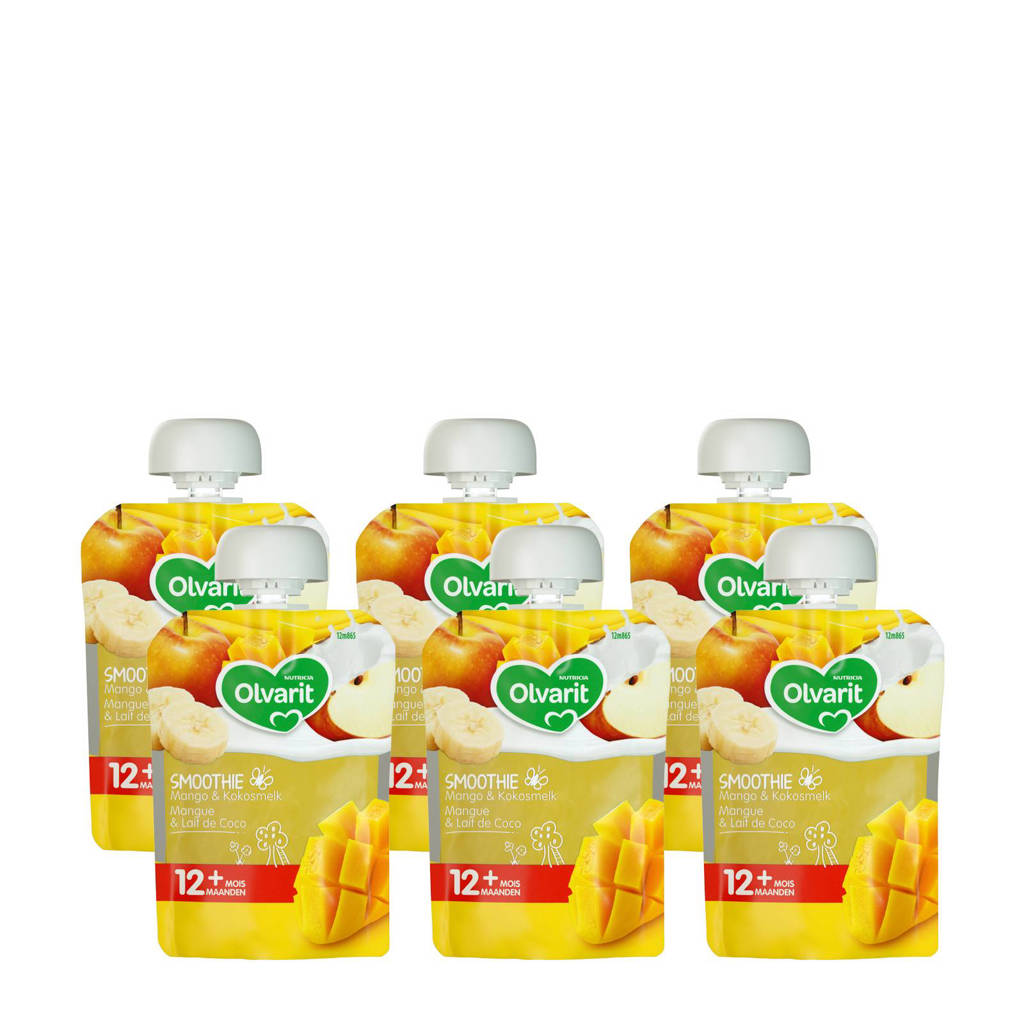 Olvarit knijpzakjes fruit exotisch mango 12+ mnd (6-pack)