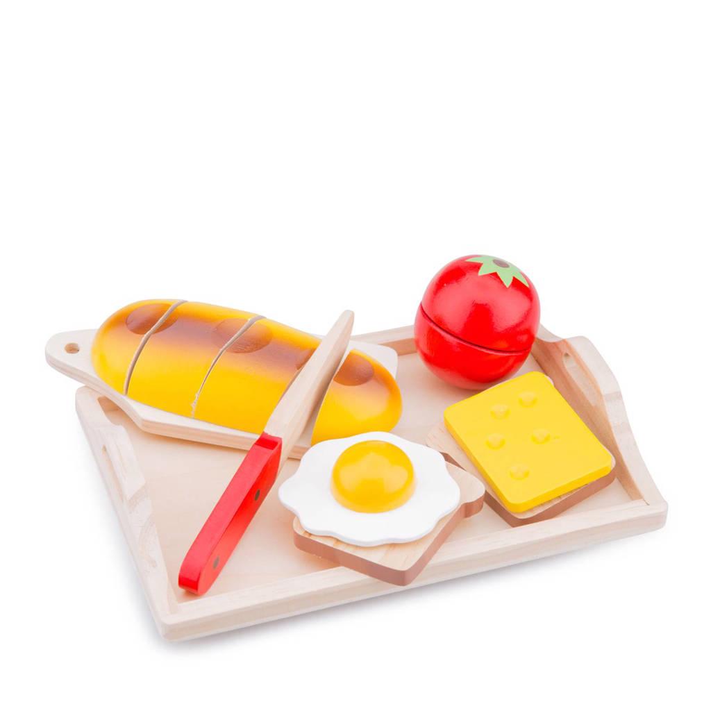 New Classic Toys houten ontbijt op dienblad snijset