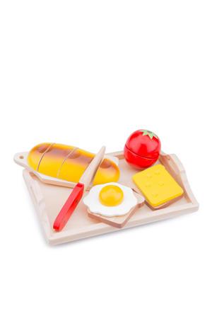houten ontbijt op dienblad snijset