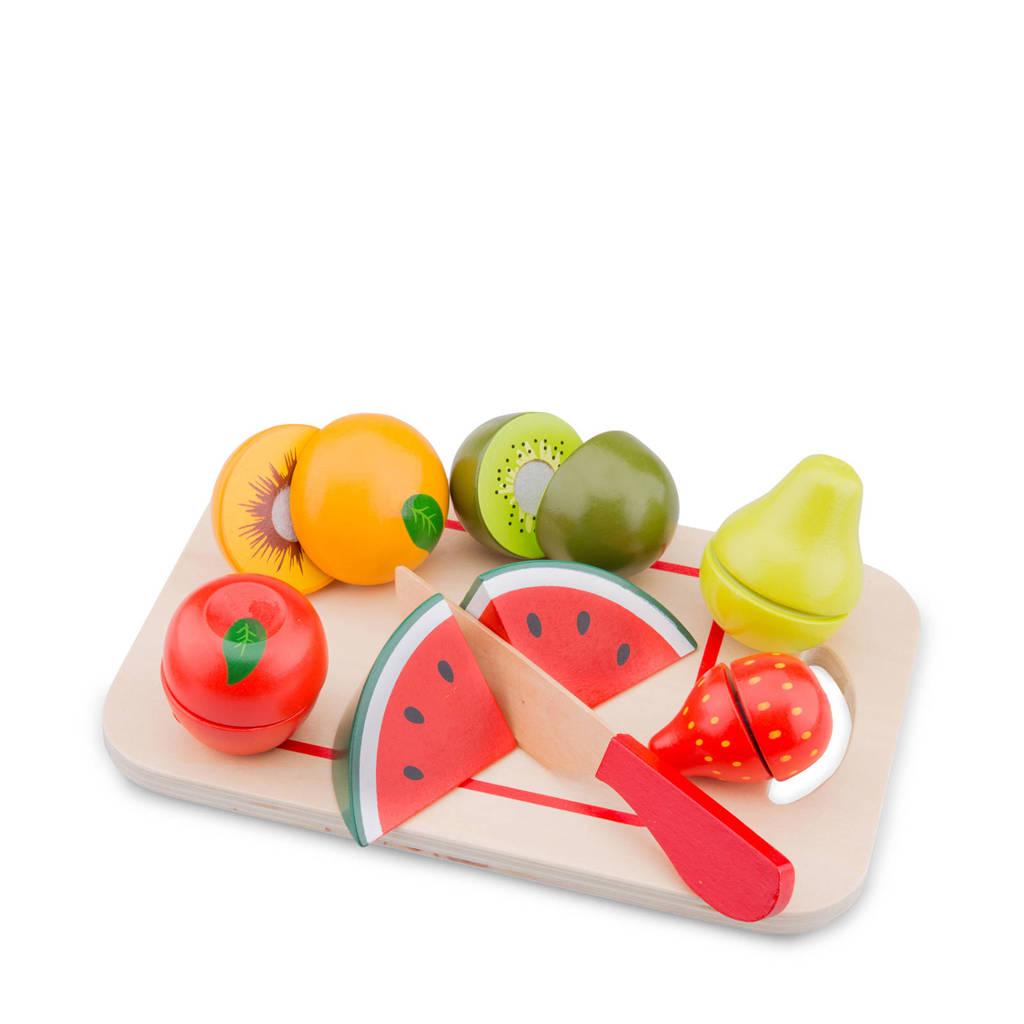 New Classic Toys houten fruit op snijplank snijset
