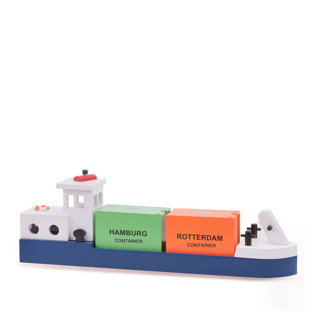 New Classic Toys houten rijnaak met 2 containers