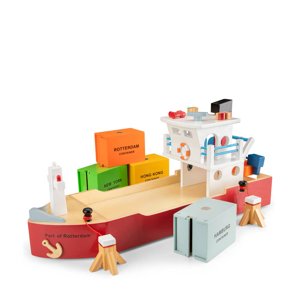 New Classic Toys houten containerboot met 4 containers
