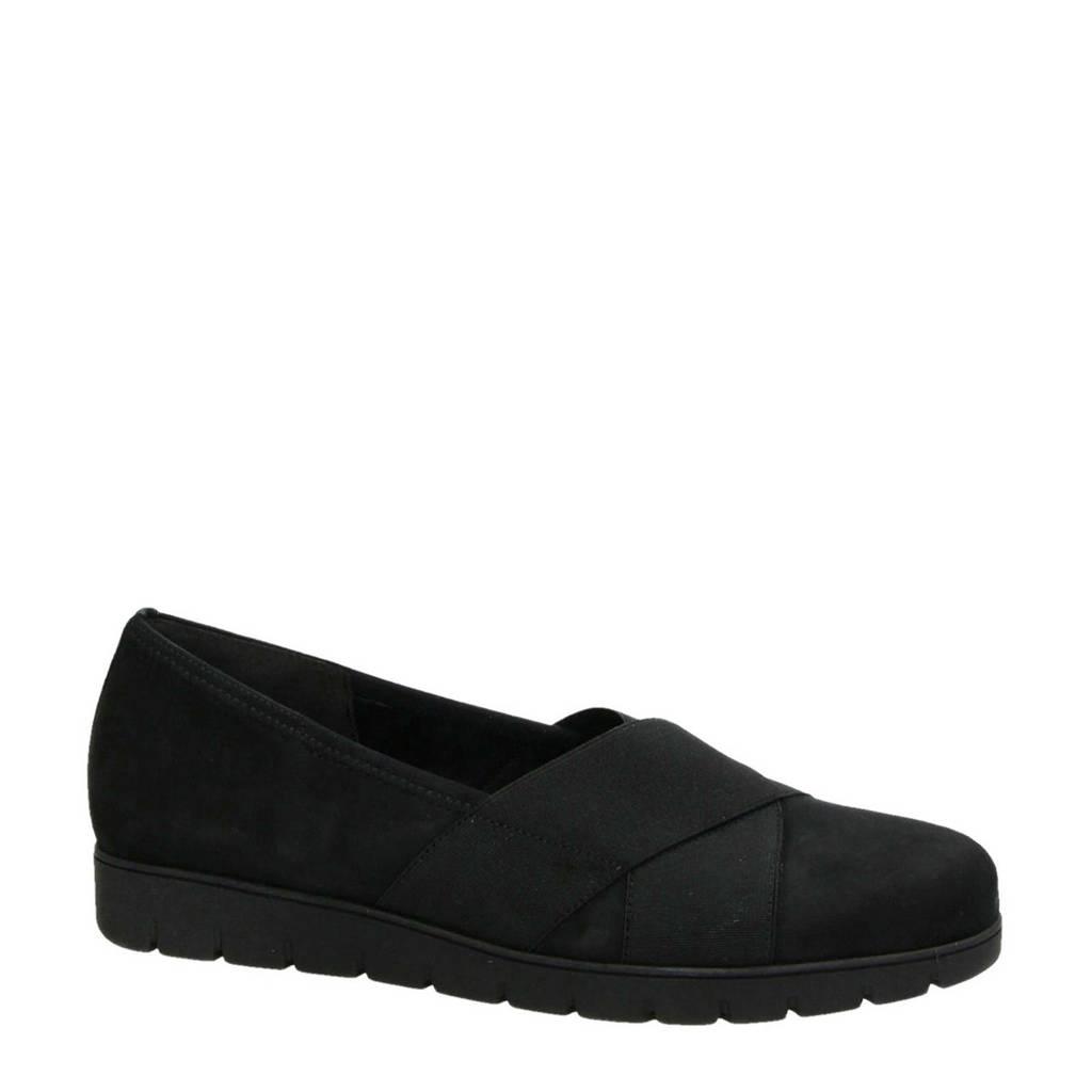 Gabor   suède loafers zwart, Zwart