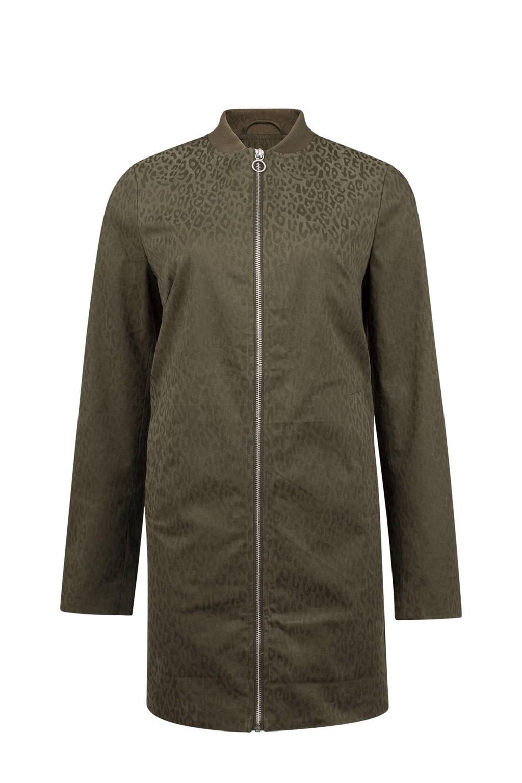 WE Fashion jas met luipaard dessin, Olijfgroen