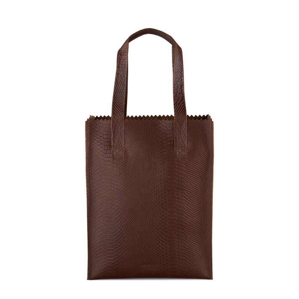 MYOMY   MY PAPER BAG long handle zip leren tas, Ananconda brandy