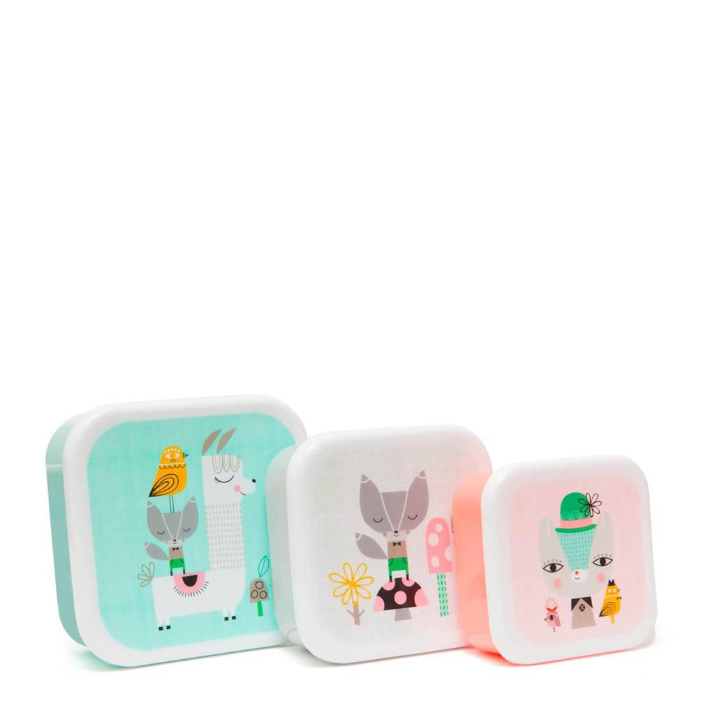 Petit Monkey lunchbox (set van 3), Mint