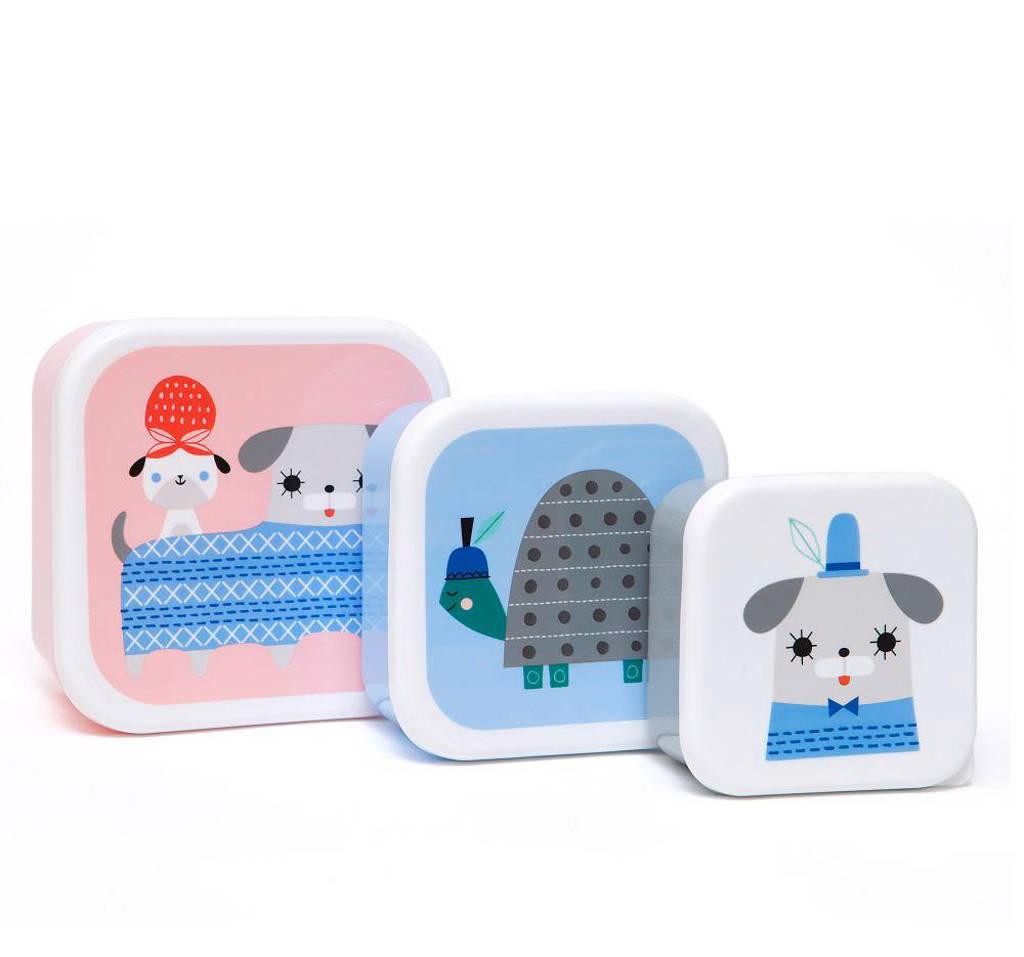 Petit Monkey lunchbox (set van 3), Roze