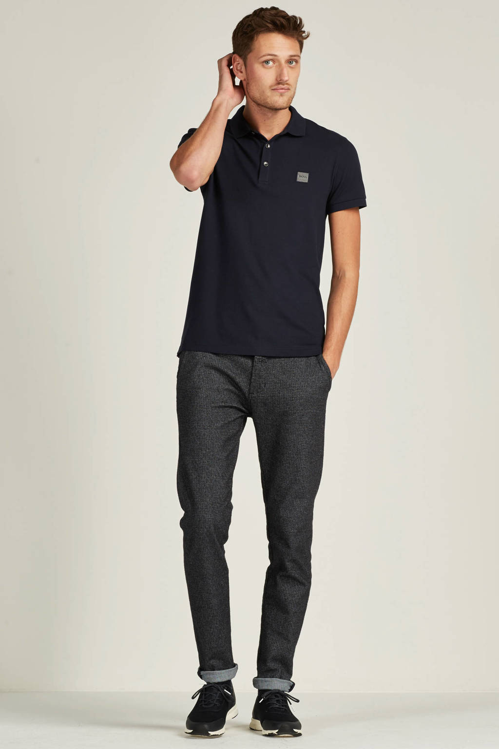 BOSS Casual Passenger slim fit polo, Donkerblauw/grijs