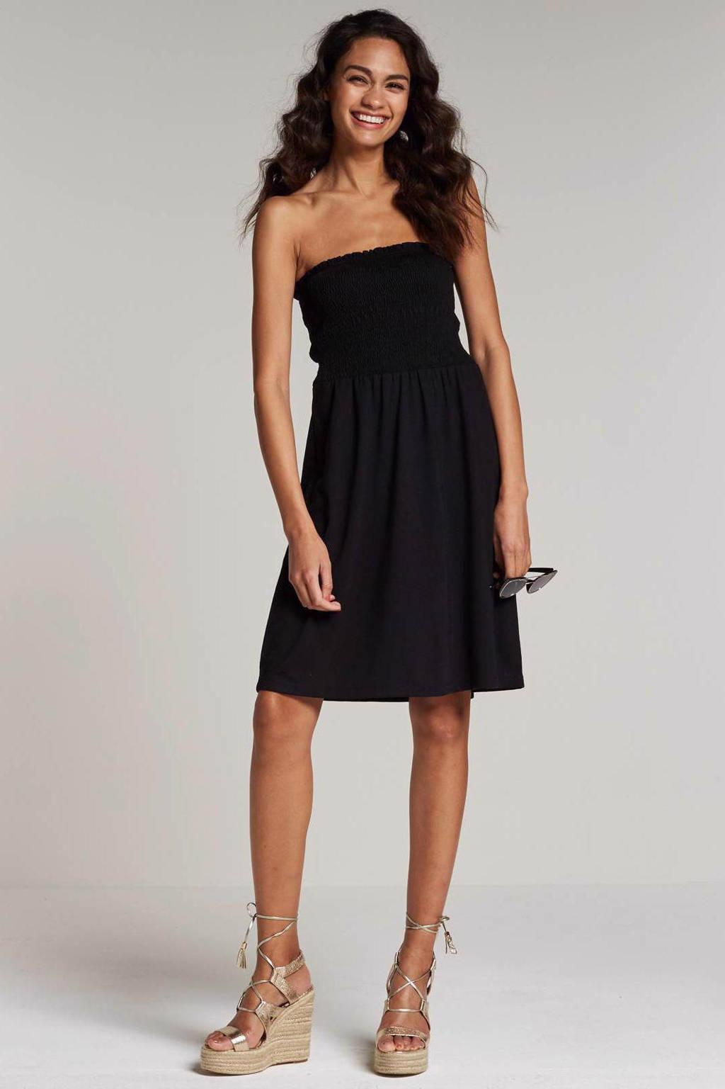 whkmp's beachwave strapless jurk, Zwart