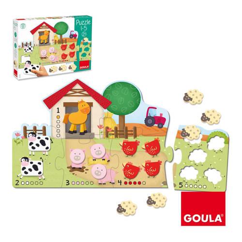Goula 1 tot 100 leren tellen houten vormenpuzzel 19 stukjes kopen