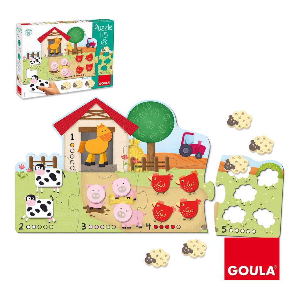 Goula 1 tot 100 leren tellen houten vormenpuzzel 19 stukjes