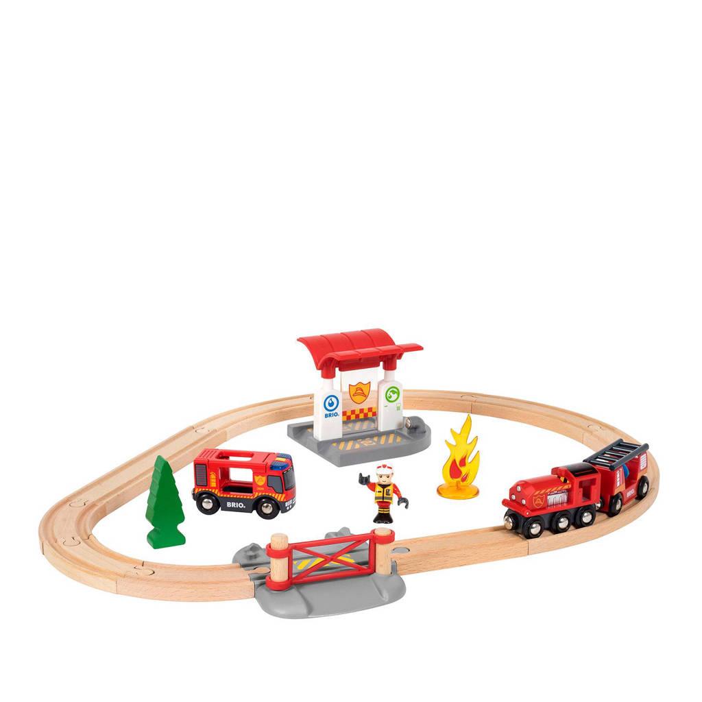 Brio houten treinset bij de brandweer