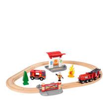 houten treinset bij de brandweer