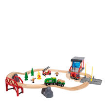 houten grote treinset brandweer