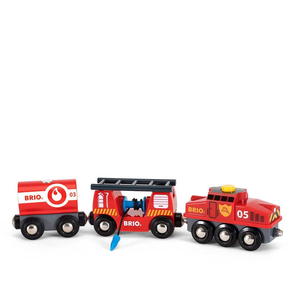 Brio houten trein van de brandweer