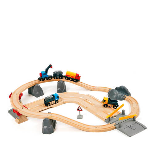 Brio houten spoor en weg transportset kopen