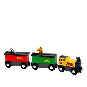 houten trein met safari dieren