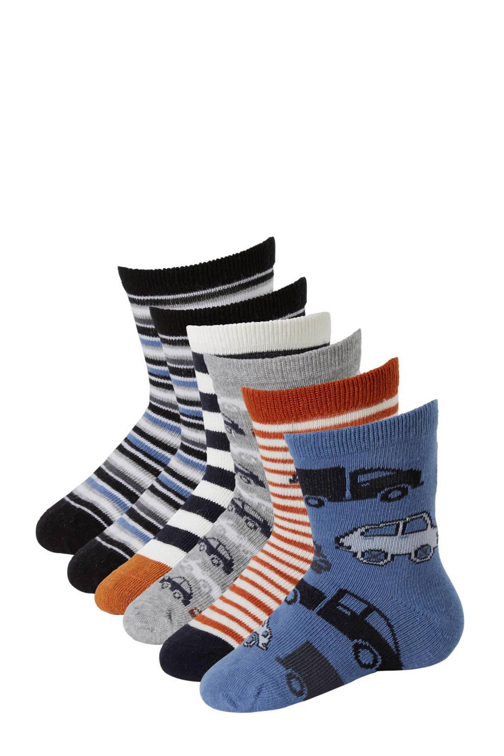Apollo baby sokken (6 paar), Grijs/blauw/bruin