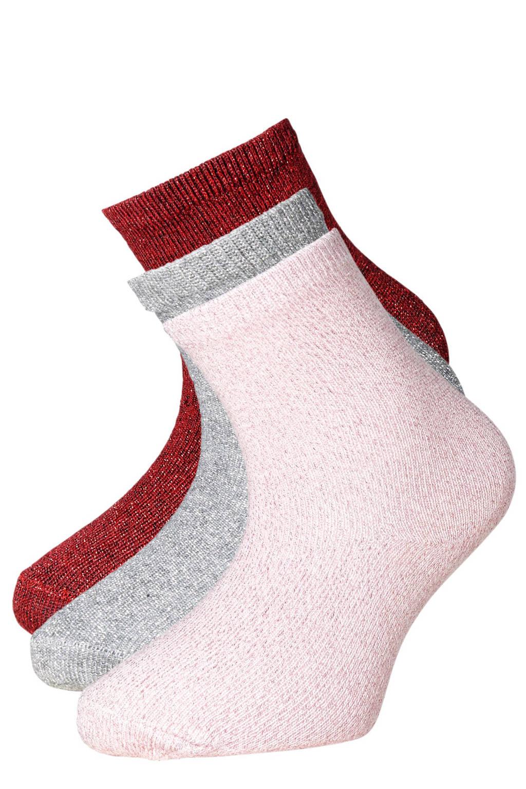 Apollo glitter sokken (3 paar), Roze/grijs/bordeaux