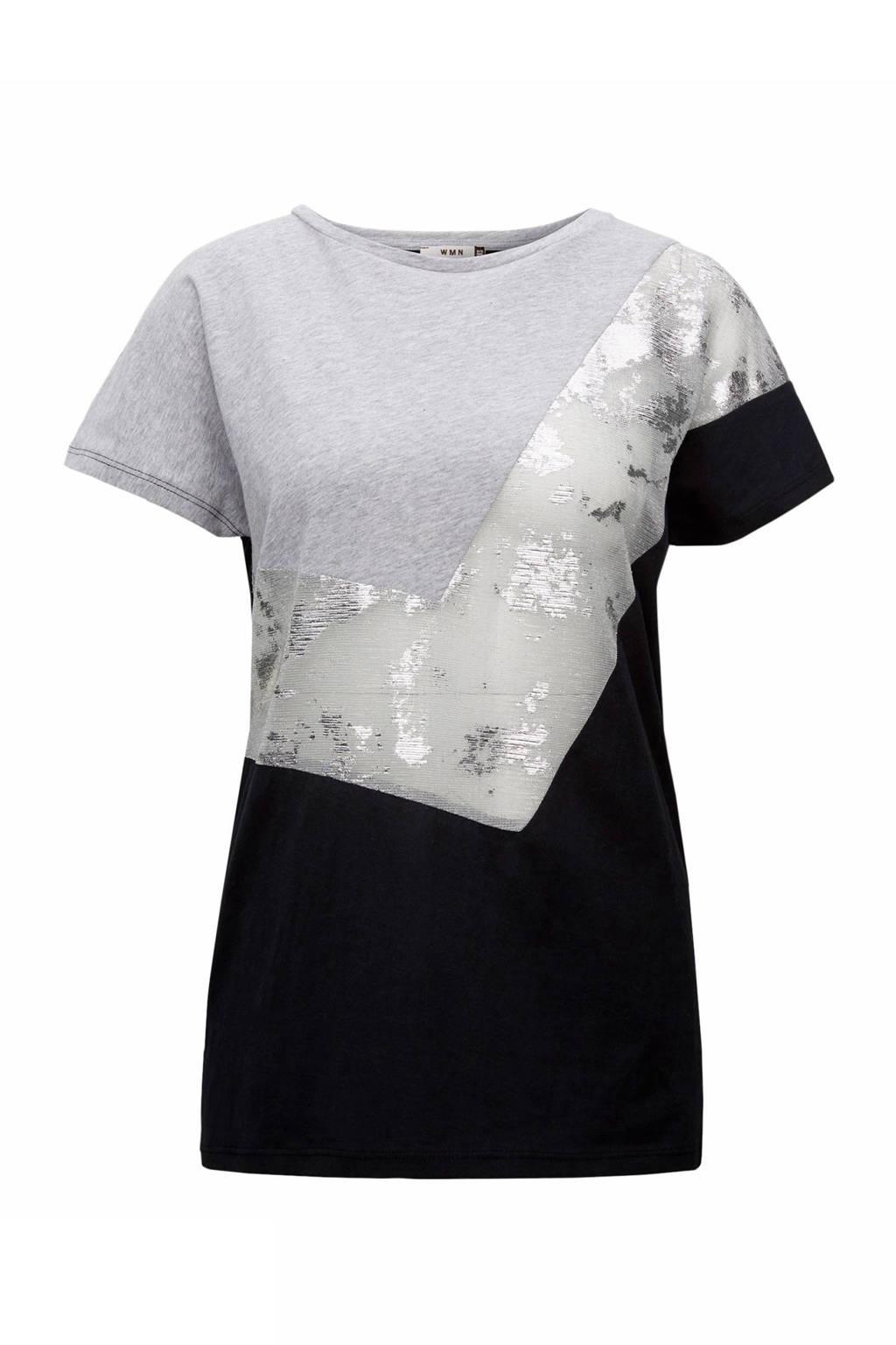 CKS Karmina T-shirt, Zwart/grijs/zilver