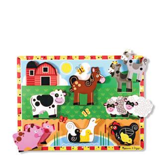 Chunky boerderij dieren houten vormenpuzzel 7 stukjes