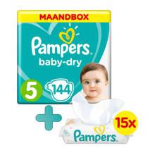 Baby-Dry maandbox maat 5 (11-16 kg) 144 luiers + Sensitive babydoekjes