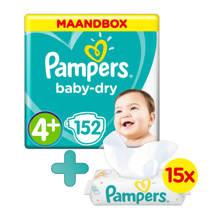 Baby-Dry maandbox maat 4+ (10-15 kg) 152 luiers  + Fresh Clean babydoekjes