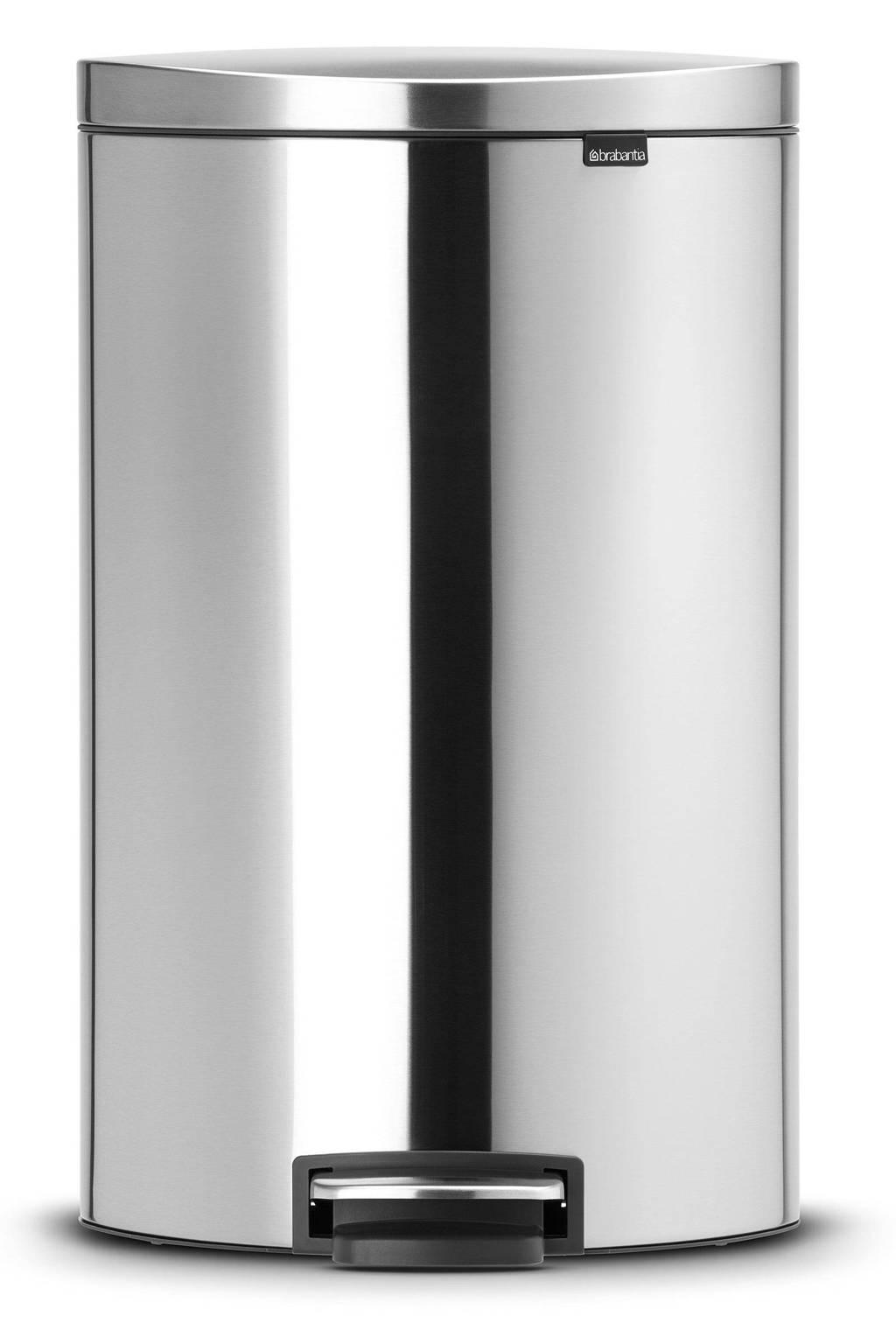 Brabantia Flatback+ 40 liter pedaalemmer, Matt steel (anti-vingerprint)