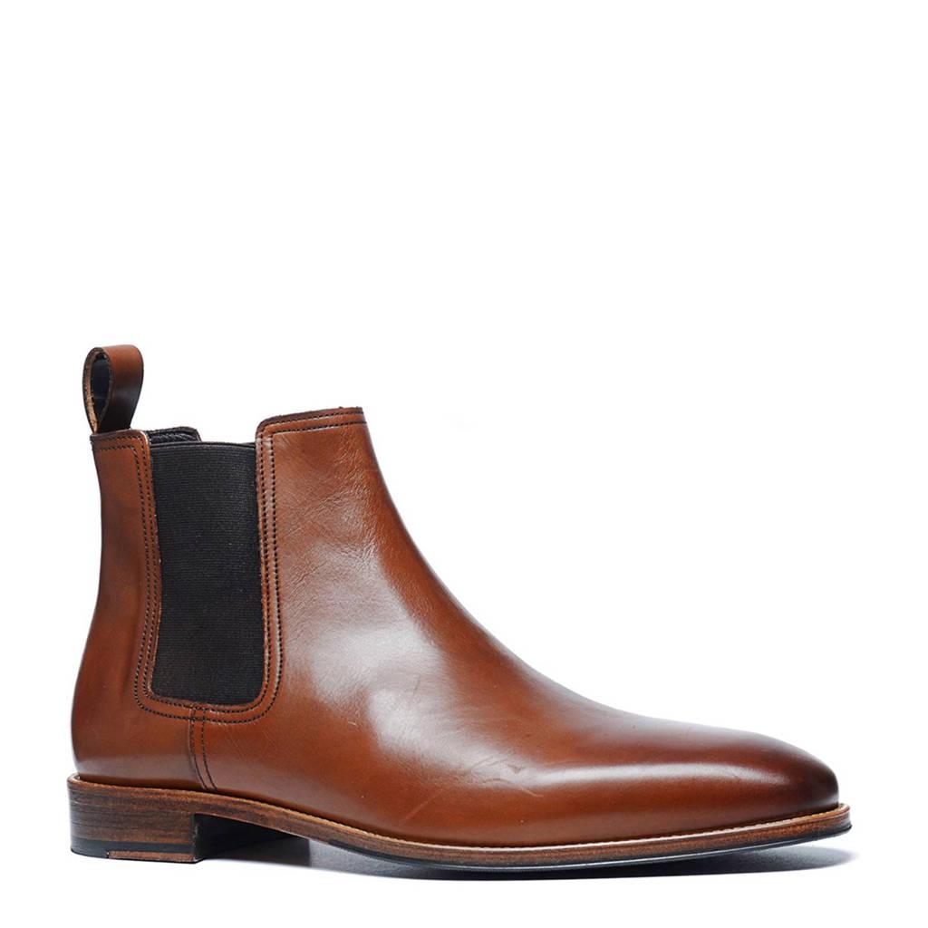 Manfield   leren chelsea boots, Cognac