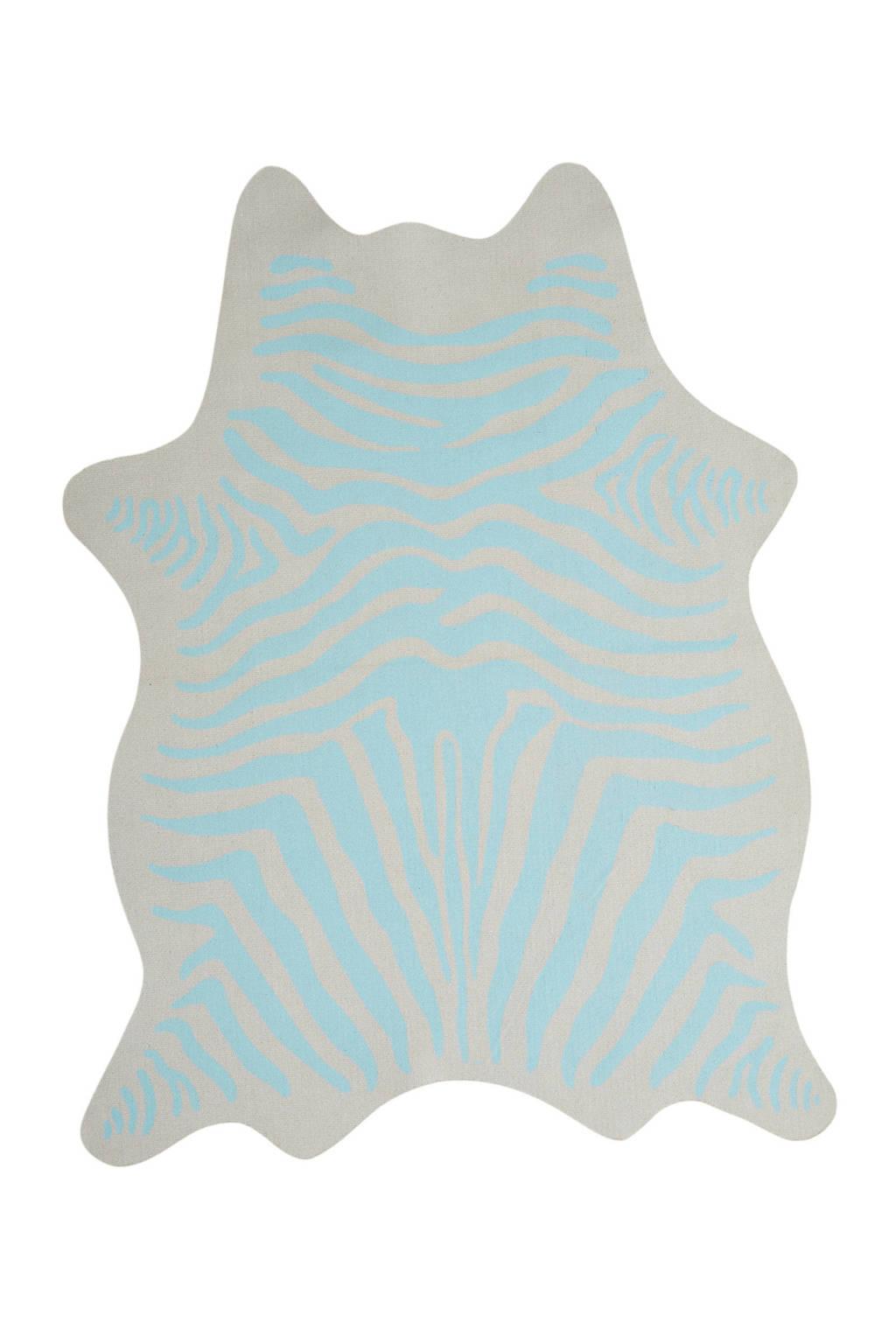 Kidsdepot vloerkleed Zebra  (120x90 cm), Blauw