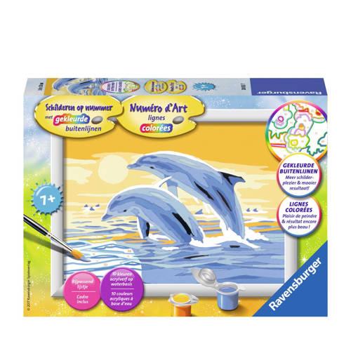 Schilderen op nummer: springende dolfijnen