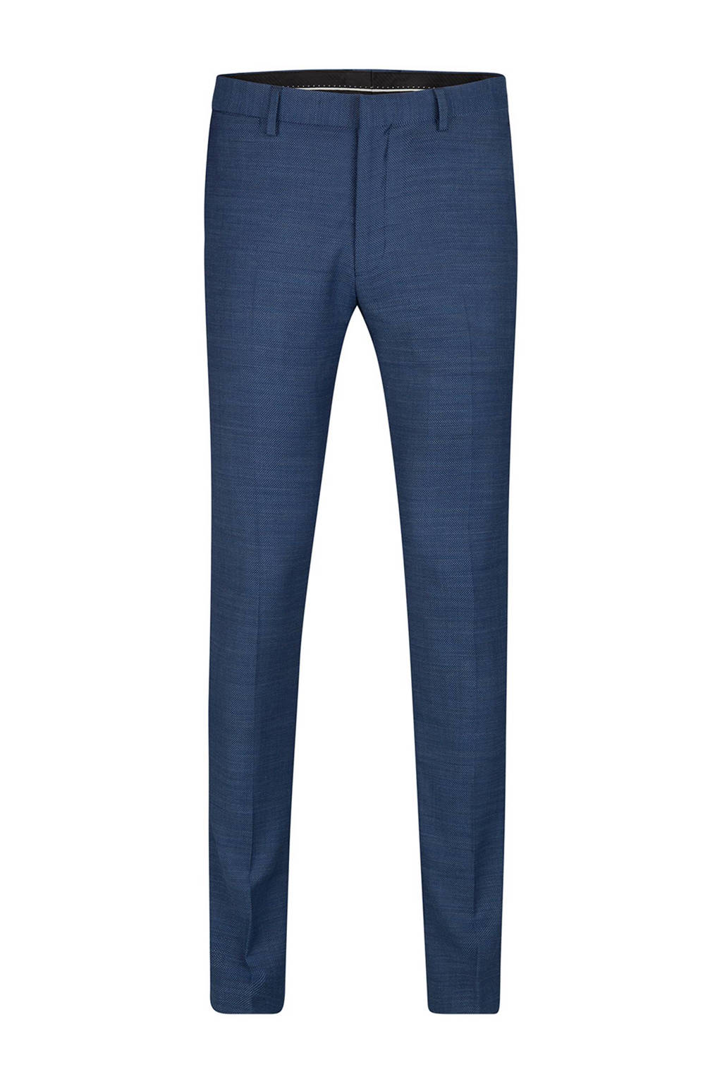 WE Fashion slim fit pantalon met wol, Blauw