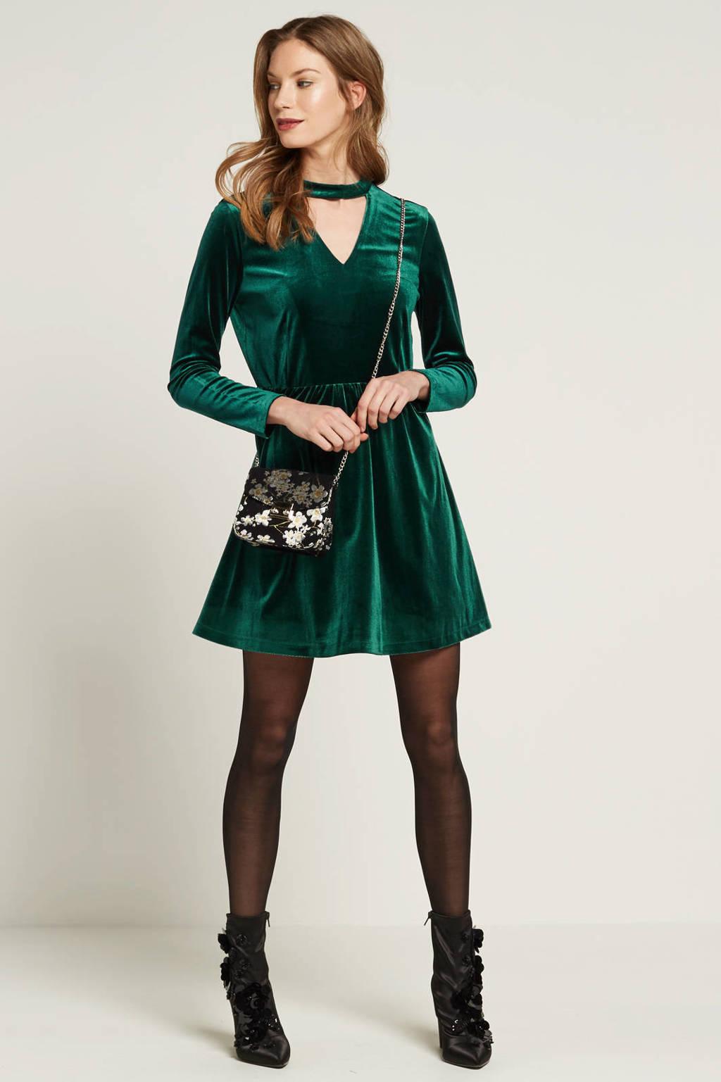 ONLY jurk van fluweel, Groen