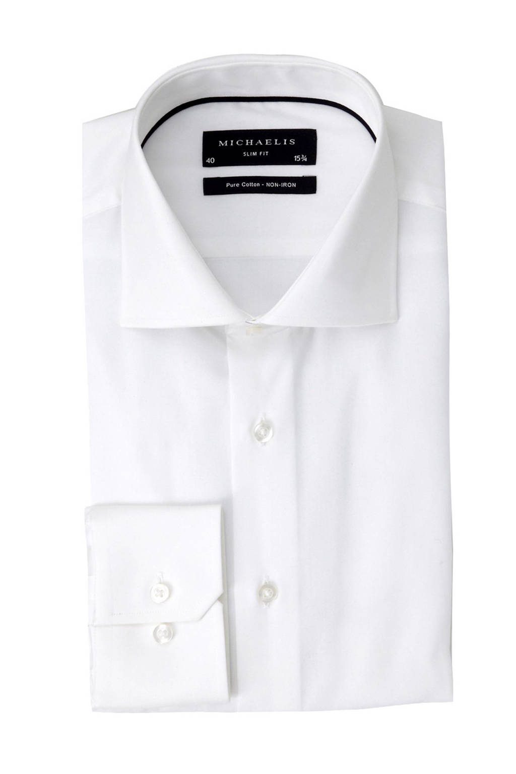 Michaelis slim fit overhemd - mouwlengte 7, Wit