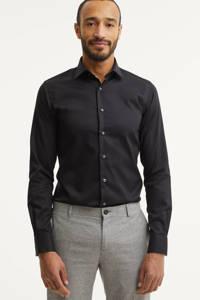 Michaelis slim fit overhemd - mouwlengte 7, Zwart