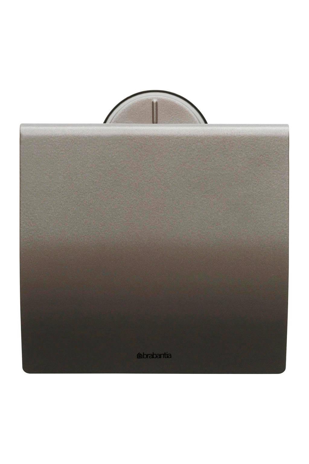 Brabantia toiletrolhouder met klep, RVS platinum
