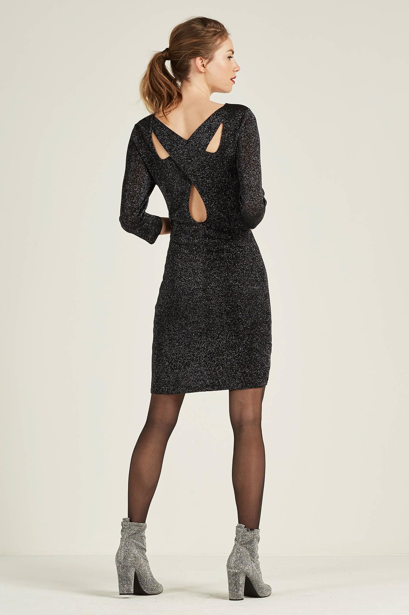 dd138e1ed60760 VERO MODA glitter jurk met open rugdetail