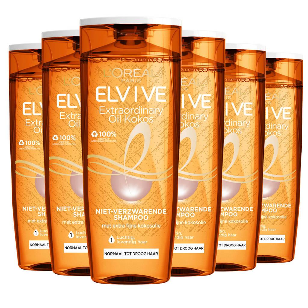 L'Oréal Paris Elvive Hair Expert Elvive Extraordinary Oil kokos shampoo 250ml - multiverpakking 6 stuks