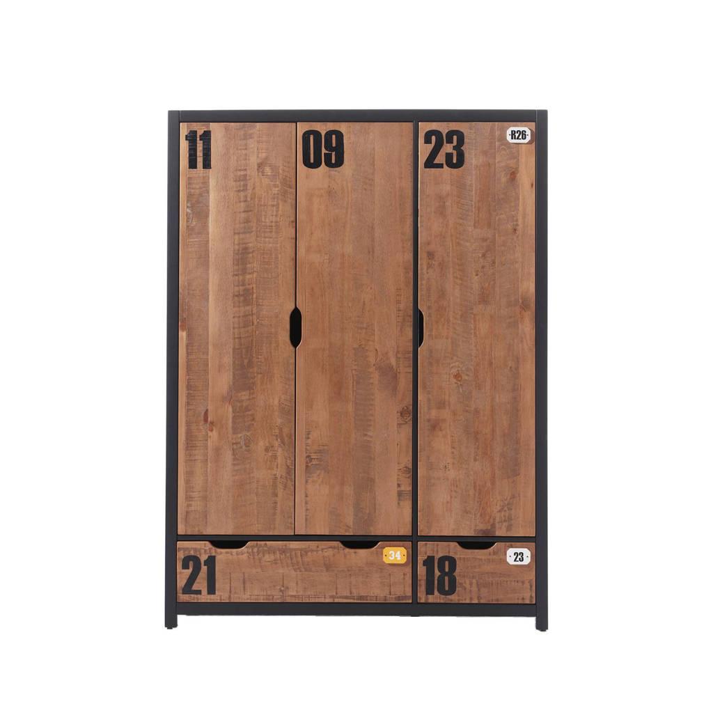 Vipack 3-deurs kledingkast Alex, Bruin/zwart