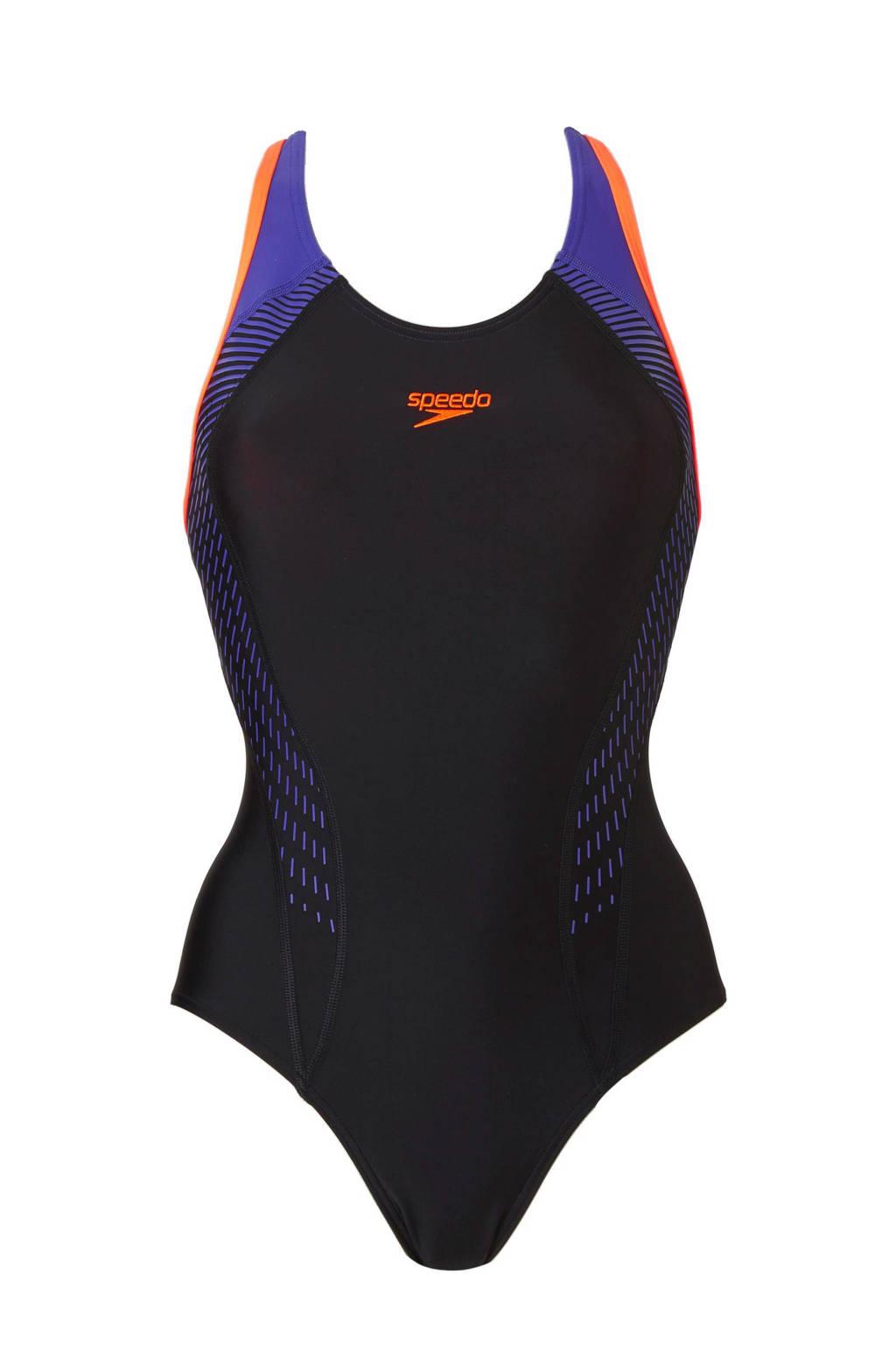 Speedo Endurance 10 sportbadpak Laneback zwart/paars, Zwart/paars/oranje