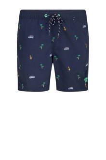 zwemshort met all-over print marineblauw