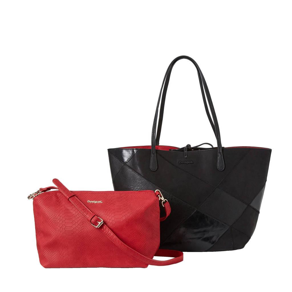 Desigual   reversible shopper, Zwart/rood