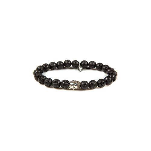 Silver Buddha Black Rocks armband