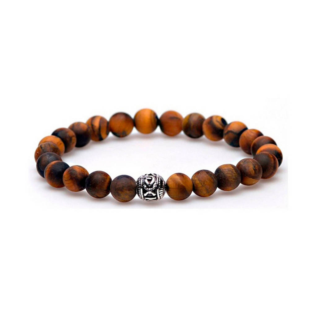 Karma Tiger Without Fear Silver Round Bead armband, Bruin