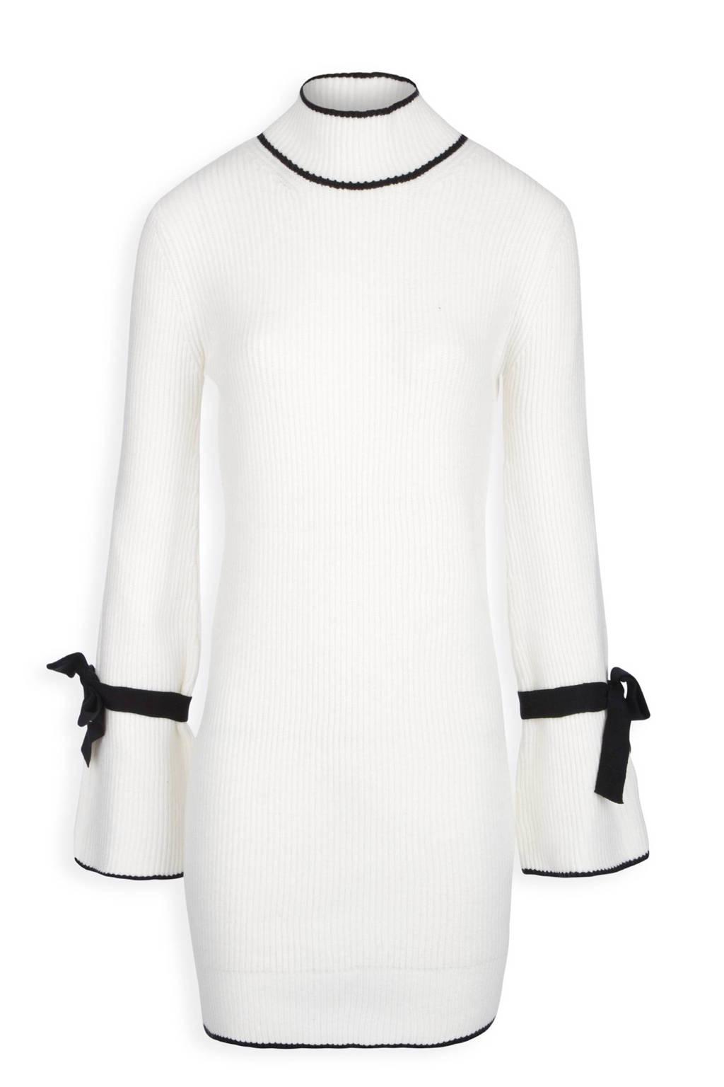 Morgan jurk met col, Naturel wit/zwart