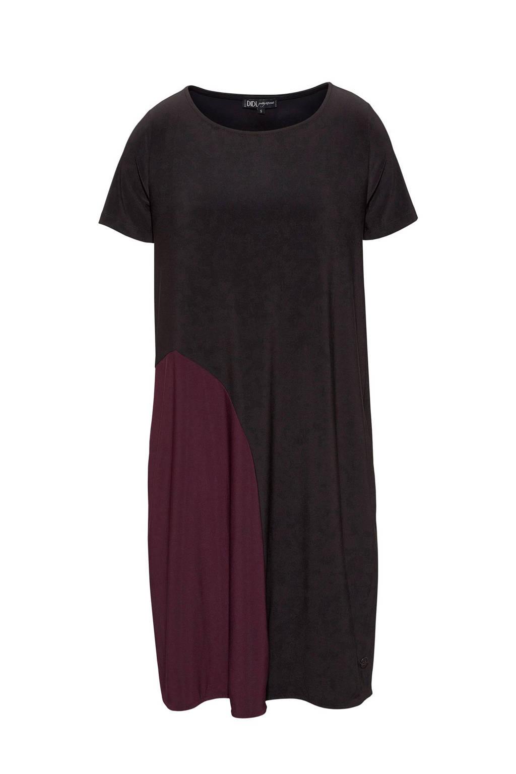 Didi jurk, Zwart/bordeaux