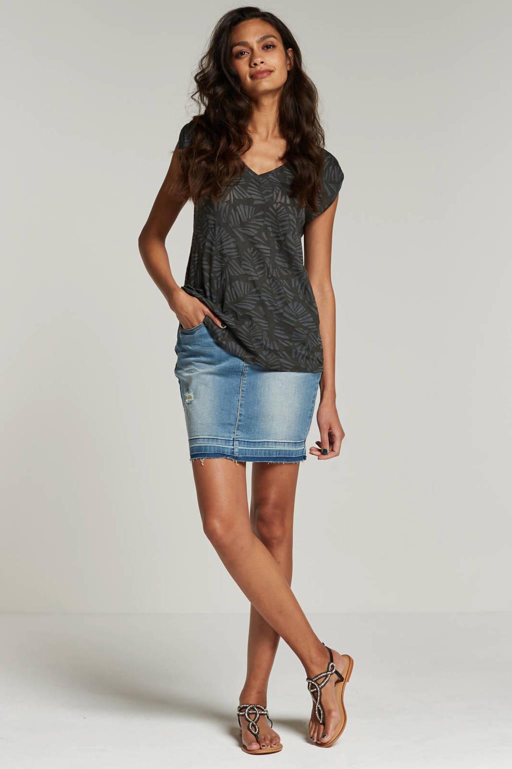 whkmp's beachwave grijs T-shirt met blad motief, Donkergrijs