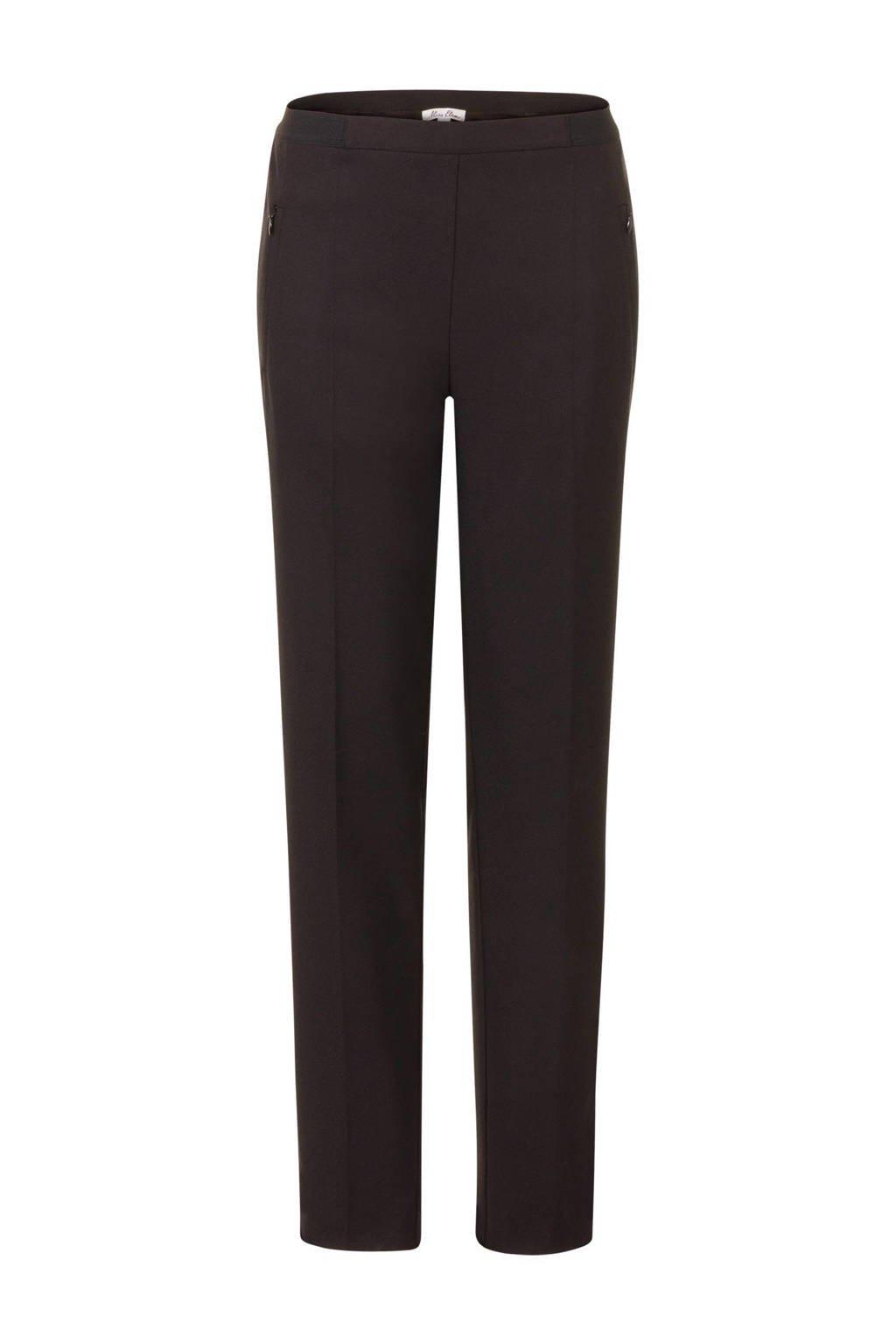 Miss Etam Regulier straight fit broek met lurex zijstreep, Zwart