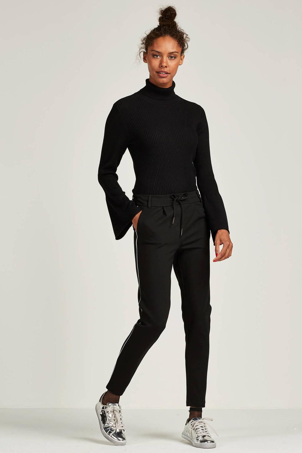 ONLY broek met zijstreep, Zwart/wit